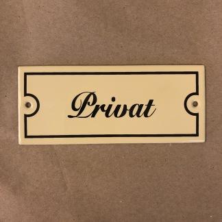Emaljskylt: Privat - Skylt i antikvitt: Privat