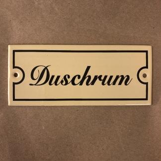 Emaljskylt: Duschrum - Skylt i antikvitt: Duschrum