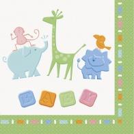 Servetter 16-pack Baby shower djungeldjur