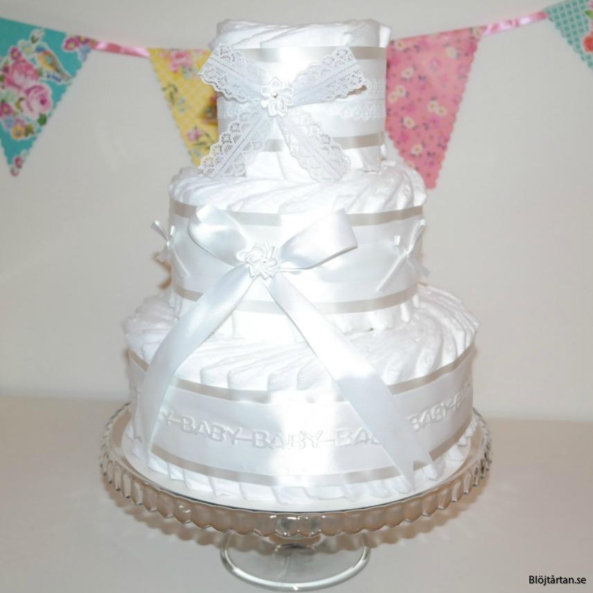 blöjtårta diapercake könsenutral vit blöjtårtan.se