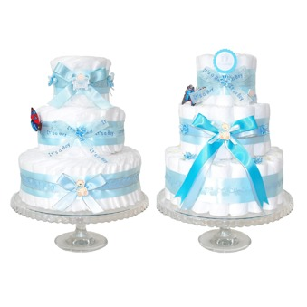 Blöjtårtan.se's tårtmix- tillsätt bara blöjor! BLÅ och ROSA kit - It's a boy, gör din egen blöjtårta, blöjtårts-kit