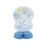 Bordsdekorationer baby shower, blå, 4-pack