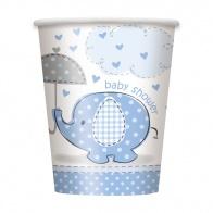 Umbrellaphant blå pappersmuggar 8-pack