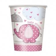 Umbrellaphant rosa pappersmuggar 8-pack