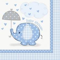 Servetter baby shower Umbrellaphant 16-pack, blå