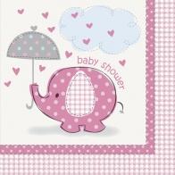 Servetter baby shower Umbrellaphant 16-pack, rosa