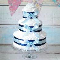 Blöjtårta mörkblå/ljusblå med plats för gåvor