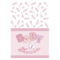 Babyshower rosa duk, plastduk 137x213 cm