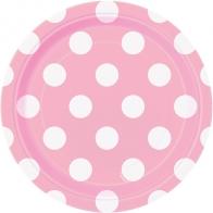 Papperstallrik 8-pack Polka dot, rosa prickiga