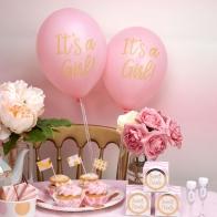 Rosa ballonger It's A Girl (guld)