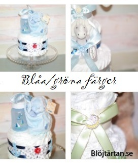 blå blöjtårtor