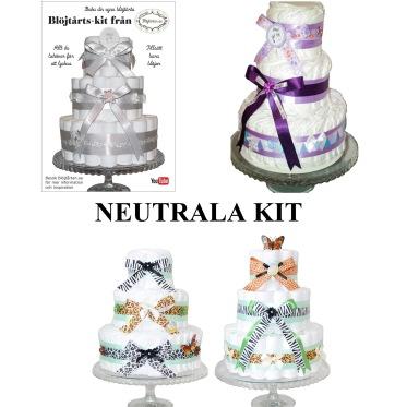 Blöjtårtan.se's tårtmix- tillsätt bara blöjor! Neutrala kit: Vit/ silver, Djungel och Lila