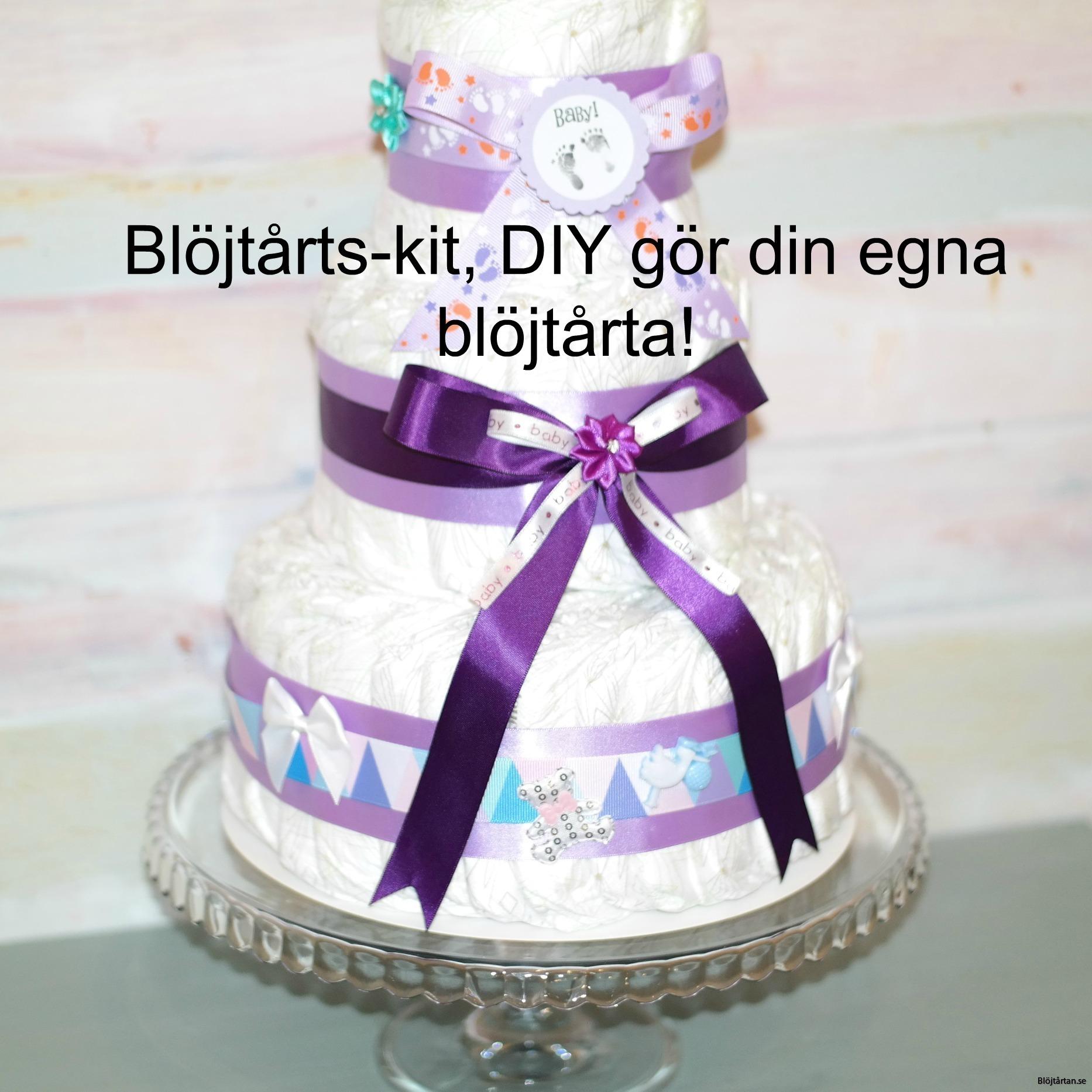 Blöjtårtan.se's tårtmix- tillsätt bara blöjor! LILA/PASTELL