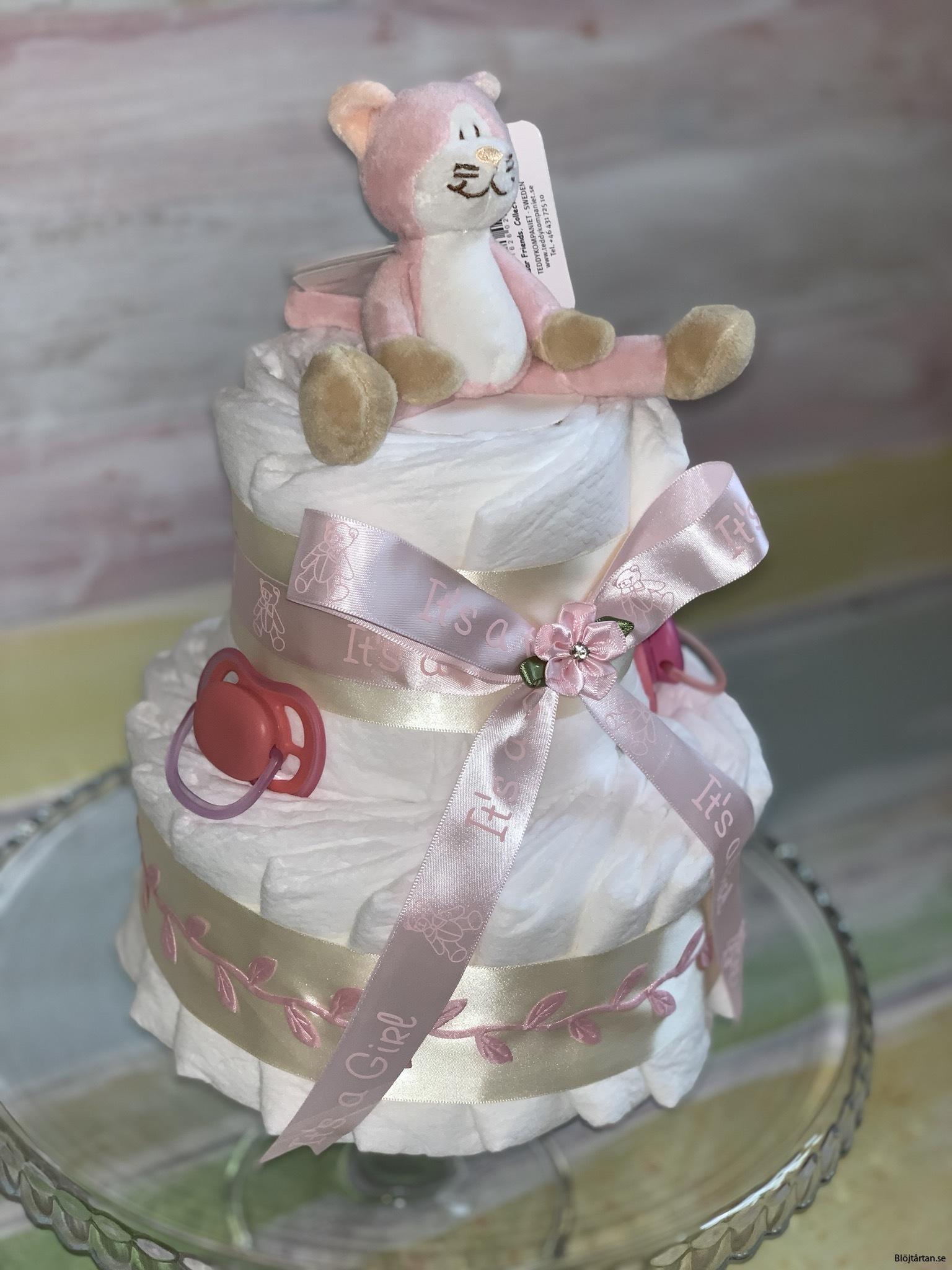 Liten rosa tvåvåningstårta, mjau!