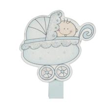 Klädnypor i trä, blå baby, 4 st