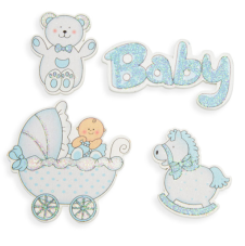 Stickers i trä, blå baby, 4 st