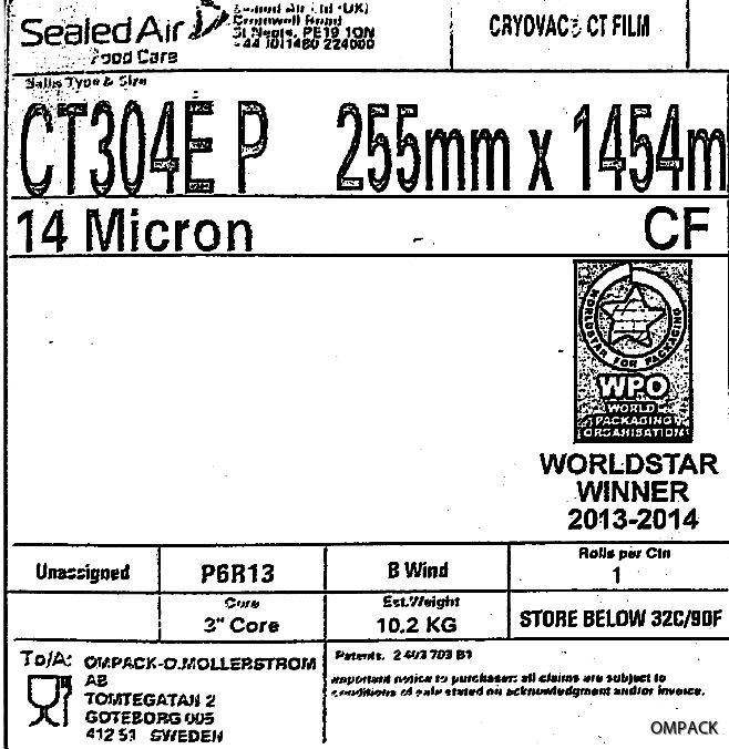 CT304E P 255 mm x 0014 mm x 1454 m