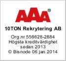 TioTon Rekrytering AB har högsta kreditvärdighet.