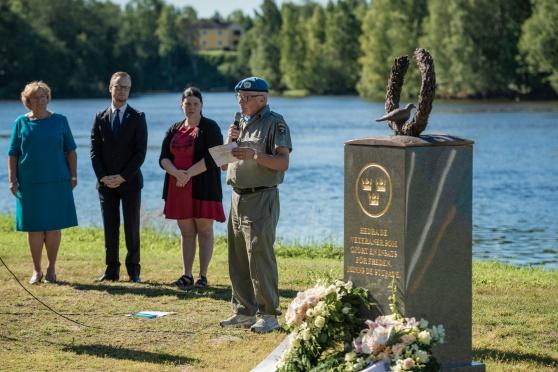 Tommy Ungh Fredsbaskrarna Västerbotten håller tal. Foto: Kim Svensson
