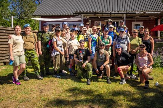 Marschdeltagare och supportteamet - Veteranmarschen 2019 Foto: Kim Svensson