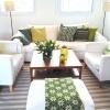 TV-rum i vitt och grönt