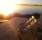 solnedgång över terrass