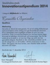 Diplom med juryns motivering - Innovationsstipendium Stockholm Stad 2014 inom miljöteknik