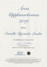 Diplom Årets Uppfinnarkvinna 2019