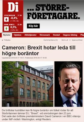 -Vi ska stanna i EU, annars...!   (källa: di.se)