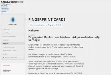 CARNEGIE är negativa till Fingerprint - Källa: Aktiespararnas hemsida