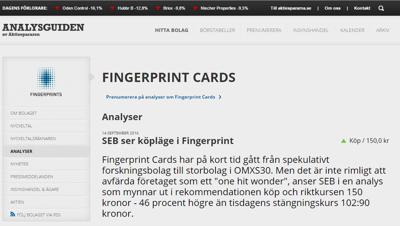 SEB är positiva till Fingerprint - Källa: Aktiespararnas hemsida