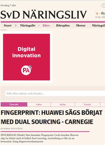 Carnegie tror att Huawei har fler leverantörer än Fingerprint - Källa: SvD hemsida