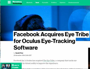 Facebook köper eye-tracking bolaget The Eye tribe som är en konkurrent till Tobii (Tobii har utsetts av tasajten som årets aktie 2017)