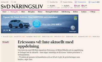 Ericssons nya VD, Börje Ekholm tar död på alla spekulationer om en styckning (bild källa: SvD)
