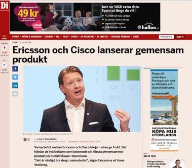 Bild ovan: 1 år gammal nyhet från 22 februari 2016 (källa: http://www.di.se/artiklar/2016/2/22/ericsson-och-cisco-lanserar-gemensam-produkt/)