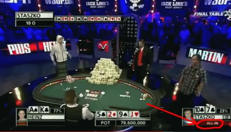 Bild: World Series of Poker. Ibland tvingar omgivningen dig att fatta stora beslut! (screenshot youtube)