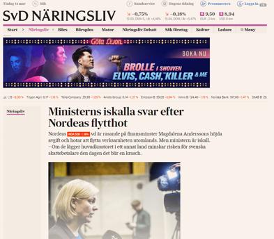 Vem bryr sig om Nordea drar, verkar Finansminstern resonera? Källa: https://www.svd.se/ministerns-iskalla-svar-efter-nordeas-flytthot
