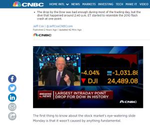 Bild ovan: CNBC - menar att det inte fanns någon fundametal orsak till måndagens nedgång