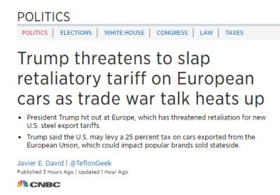 Trump hotar med att höja tullarna för bilar, om EU vedergäller med att höja tullarna för USA som motåtgärd för tullhöjningen på stål och aluminium (Källa: CNBC)