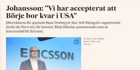 Ibalnd är USA allt bra att ha - vem f#n (förlåt) vill bo i Sverige? Inte Ericsson VD i alla fall (källa Svd)