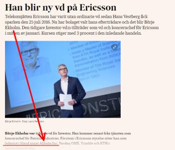 Ingen reagerar över att Ericssons VD sitter i styrelsen för en av Kinas största bolag, Alibaba (bild källa: SvD).