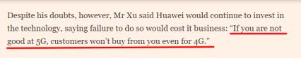Huawei tänker ändå fortsätta att investera i det där värdelösa 5-nätet. Underbar retorik! (källa: Financial Times)