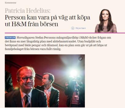Varför köper Stefan Persson så mycket aktier? (källa: SvD)