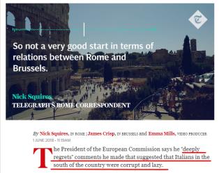 """""""Deeply regrets"""": Herr Juncker ångrar djupt sitt uttalande (källa: The Daily Telegraph UK)"""