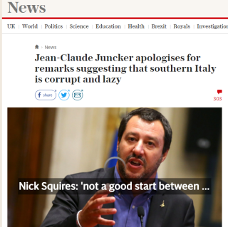 Matteo Salvini (ovan) uppskattade tydligen inte Jean Claude Juncker och EU:s förolämpning  - när EU anklagar italienarna för att vara lata och korrupta (källa: The Daily Telegraph UK)