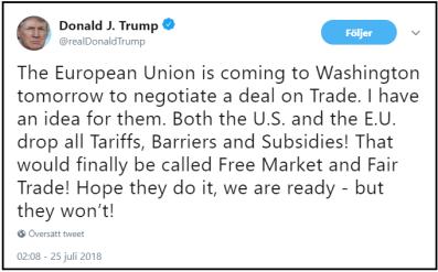 """Trump erbjuder EU; att USA tar bort alla tullar på alla varor - det enda EU behöver göra är att göra likadant och säga """"ja"""" (källa: Trump himself)"""