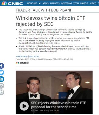 Vinkelflossarna tog lite deg från Suckerberg och satte dem på ett fet-bet i Bitcoin, nu fick dock deras ETF fond avslag. Räkna dock med att Vröderna grus kommer tillbaka! (bild ovan: CNBC)
