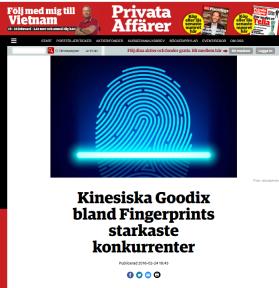 Fingerprints konkurrenter håller till i Kina Källa: Privata affärer 2016-02-24