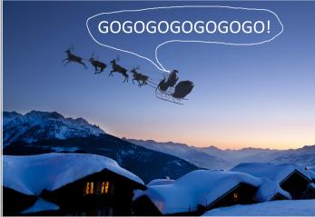 """Vid tidens begynnelse sa tomten förstås """"gogogogogo"""", alla trodde tomten sa detta till sina renar, men han syftade förstås på sin posse!"""