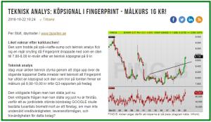FING B dagschart: Analaysen från den 22 okt 2018 - där Fingerprint fick köpsignal på 8,73 kr (diagram källa: Infront)